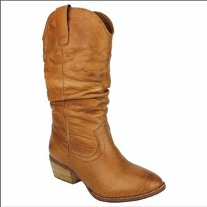 """NEW Soft Burnished Leather Slouchy Boots 7 1/2"""""""